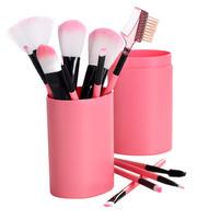 Pensel sæt med 12 pensler/børster i Lyserød plast beholder